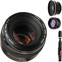 Canon 50mm 1.4 Portrait Lens + High Definition Wide Angle Auxiliary Lens + High Definition Telephoto Auxiliary Lens + Deluxe Lens Cleaning Pen