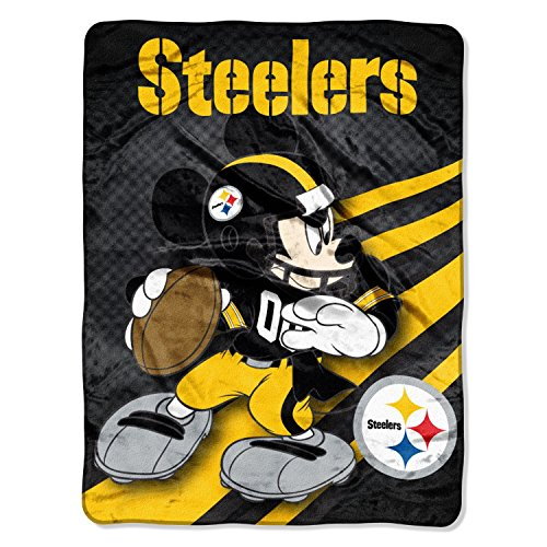NFL Pittsburgh Steelers Mickey Mouse Ultra Plush Micro Super Soft Raschel Throw Blanket from SteelerMania