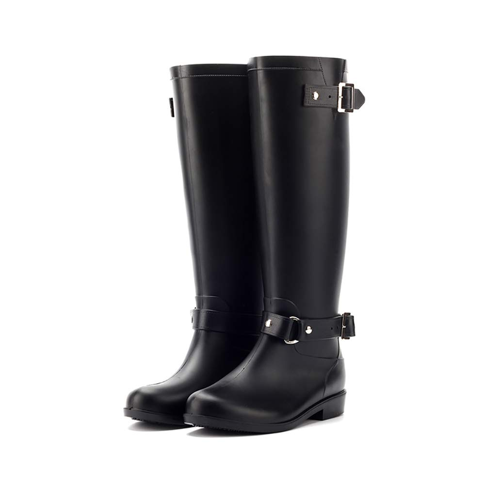 SMILINGGIRL Frauen Wasserdichte Martin Stiefel Mode Hohe Stiefel Regen Stiefel Wasser Schuhe Schnee Stiefel Motorrad Stiefel (Schwarz)