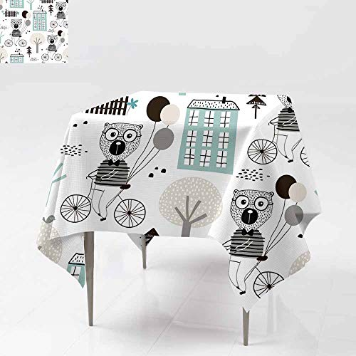 Square tablecloth,Seamless childish pattern with cute bears bicycling in,Great for Buffet Table, Parties& More 36x36 Inch the c ity Creative kids texture for fabric wrapping textile wallpaper apparel -