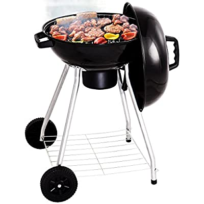 Giantex Kettle Charcoal Grill w/ Wheels Shelf Temperature Gauge BBQ Outdoor Backyard Cooking Black by Giantex
