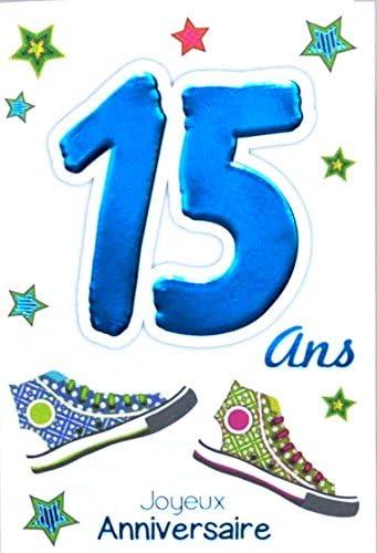 Age Mv 69 2015 Carte Joyeux Anniversaire 15 Ans Ados Garcon Fille Motif Baskets Etoiles Stars Amazon Fr Fournitures De Bureau