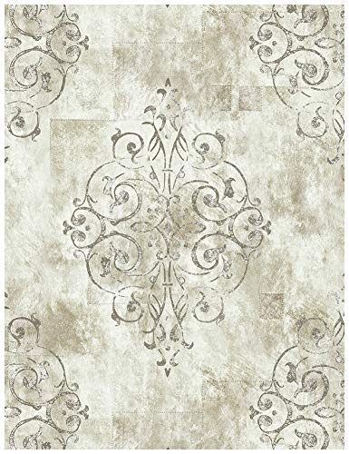(HaokHome 79601 Vintage French Damask Wallpaper Off White/Grey/Lt.Gold for Home Bathroom Kitchen Accent Wall 20.8