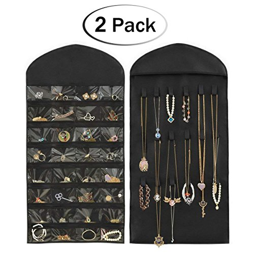 HIPPIH 2 Pack 32 Pockets 18 Hook and Loops Jewelry Scroll Closet Hanging Non-Woven Organizer Holder,Black (Earrings Design Scroll)