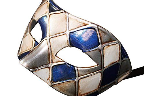 Mask & Co Quality Mens or Women's Harlequin Venetian Masquerade Party Ball Eye Prom Carnival Mask (Blue Silver) - Satin Harlequin Mask