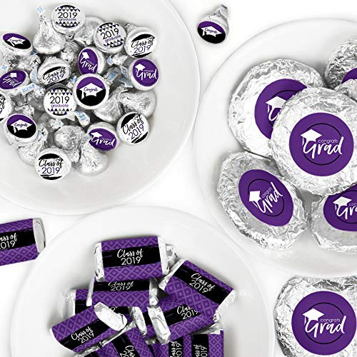 Purple Grad - Best is Yet to Come - Mini Candy Bar Wrappers, Round Candy Stickers and Circle Stickers - 2019 Purple Graduation Party Candy Favor Sticker Kit - 304 Pieces]()