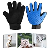 XJ Pet Grooming Glove Gentle Deshedding Brush Gloves one Pair Blue, 2-in-1 Hair Remover Mitt Gentle Deshedding Brush and Massage Tool for Dog Cat Horses