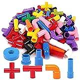 Jile 88 Pcs Tube Plastic Construction Building Blocks Set, DIY Pipes Puzzle Assembling Interlocking Set Toys for Kids ( 88 pcs )
