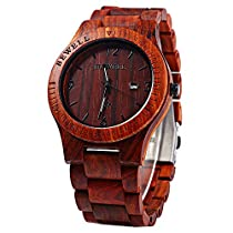 Bewell W086B Mens Wooden Watch Analog Quartz Lightweight Handmade Casual Wood Wrist Watch