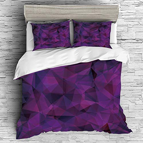 iPrint Cotton Duvet Cover Set 4 Pcs, Simple Solid Design, Super Soft and Easy Care(Singe Size) Indigo,Broken Glass Inspired Geometric Triangle Abstract Shapes,Eggplant Purple Lilac and Burgundy