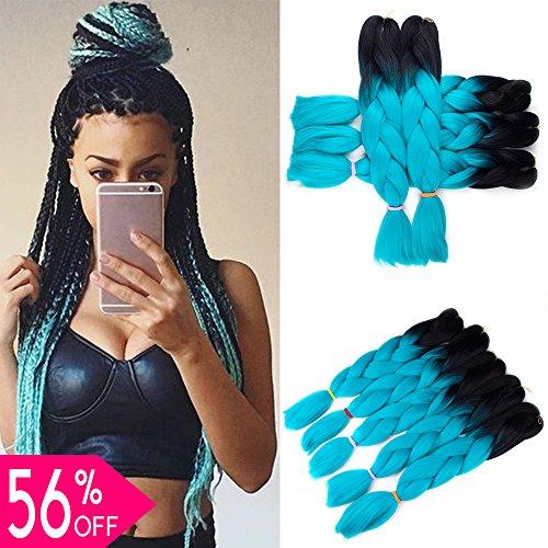 BeautyGrace Ombre Jumbo Braiding Hair Extensions 5Pcs/Lot Kanekalon Synthetic Ombre Braid Hair Expressions (24 inch, Black-Cyan)