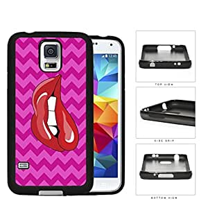 Red Lips Biting With Pink Chevron Pattern Rubber Silicone TPU Cell Phone Case Samsung Galaxy S5 SM-G900