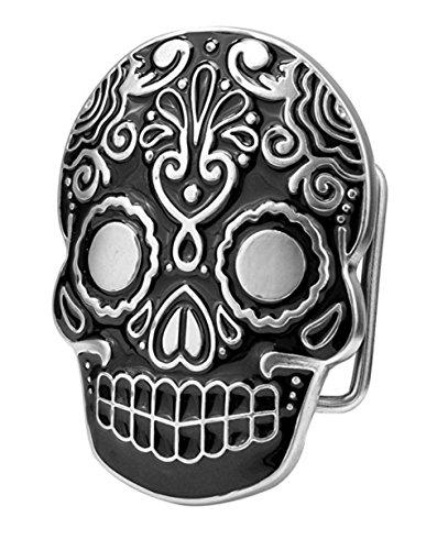 Buckle Rage Adult Unisex Mexican Katrina Dia De Muertos Skull Belt Buckle Black (Buckle Belt Skull Black)