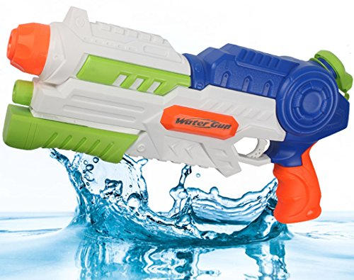 Water Blaster Water Gun Soaker Squirt Pistol Gun 1200CC Capacity Party Favors and Outdoor Activity Summer Pool Water Fun Pump Toys for Kids Children (Spring Submachine Gun)