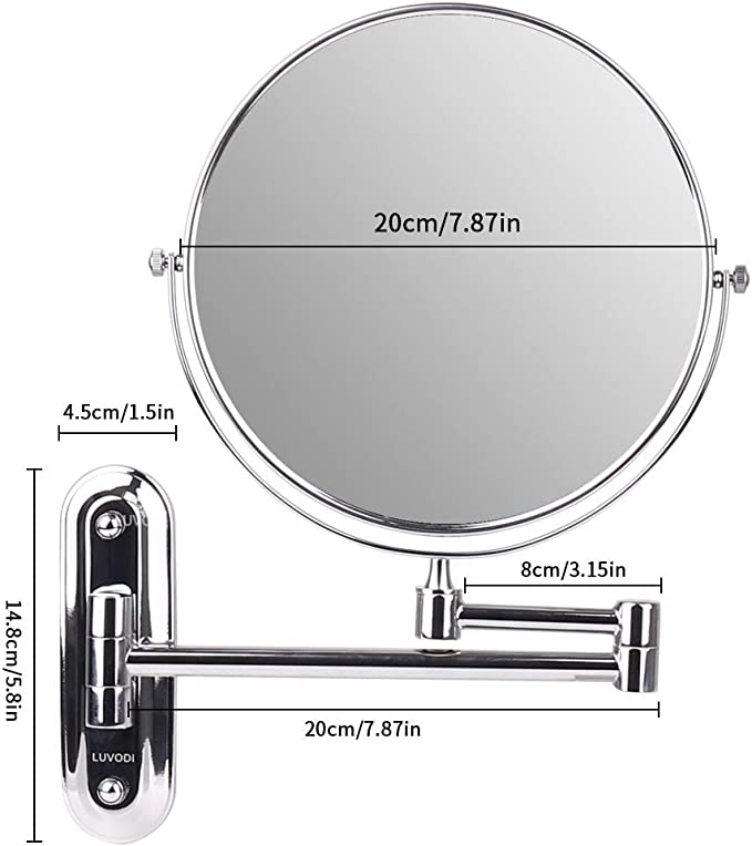 orientabile specchio da parete da 20,3/cm Cosprof specchio da bagno a doppio lato con ingrandimento 10x//1x allungabile con finitura in cromo
