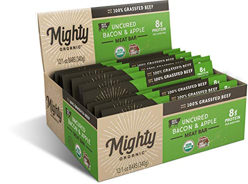 100% Organic Grass Fed Beef Bar, Gluten Free Snack, Uncured Bacon and Apple, Mighty Organic, 1 oz (Pack of 12) -