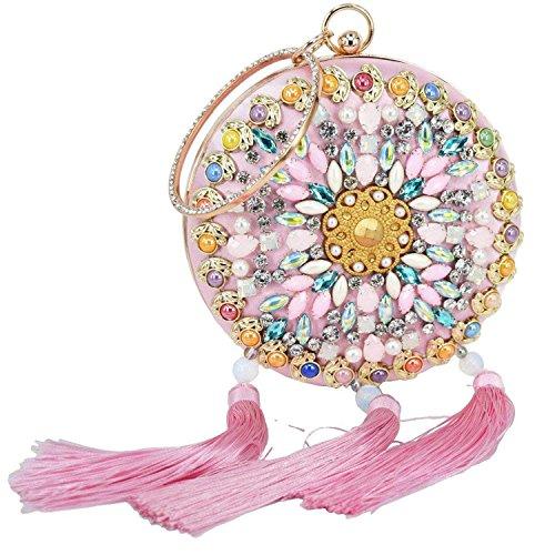 ON Clutch Wedding Rising Blue Evening Luxury Bag Bag Banquet Pink Bag Tassel White Pink Bead Wristlets Clutch Party Purse R7d7wA