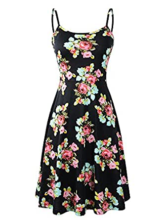 Luckco Women's Sleeveless Adjustable Strappy Summer Floral Flared Swing Dress Small FL-1