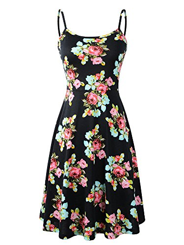 Luckco Women's Sleeveless Adjustable Strappy Summer Floral Flared