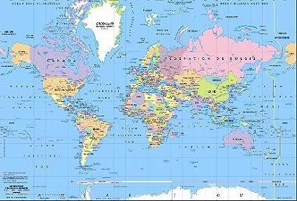 Dimension 35 x 60 cm Impression 2015 Carte du Monde sous Main//avec Pays Et Capitales Imprim/és