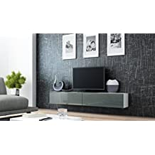 Seattle Floating TV Cabinet - TV Stand with High Gloss fronts - Seattle Hanging TV console (Large, White & Grey)