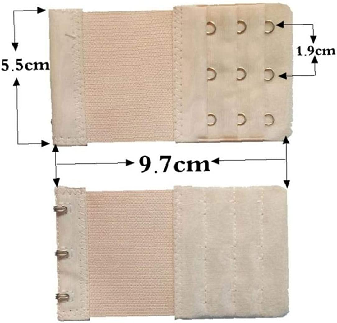 YaptheS Bra Extender Elastic Lingerie Extenders Extension Strap Bra Band Breathing 5 4 3 2 Hooks 4pcs Apricot Color for Adult
