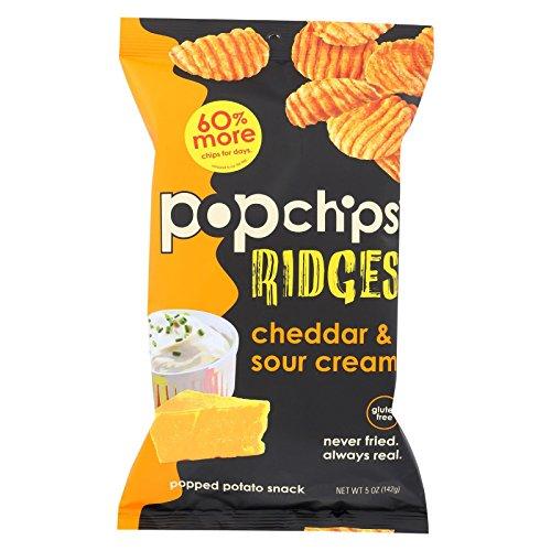 Popchips Ridges, Cheddar & Sour Cream, 5 fl oz by popchips