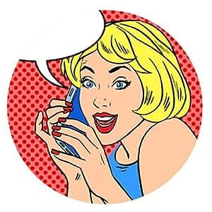 alfombrilla de ratón Teléfono de la chica charla alegría cómica de la vendimia del arte pop - ronda - 20cm