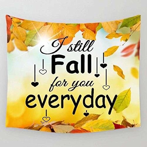 I Still Fall For You Everyday Love Autumn Fall Leaves Decoration Tapestries Wall Hanging Flower Psychedelic Tapestry Wall Hanging Indian Dorm Decor for Living Room Bedroom(60x40inches)