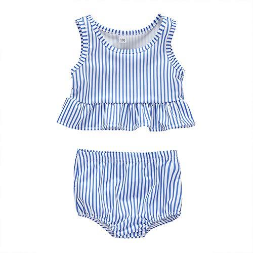 Digirlsor Baby Toddler Girls Summer Swimsuit Sleeveless Striped Swimsuit Rash Guard Two Piece Suit Blue
