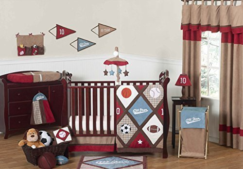 Sweet Jojo Designs 11-Piece All Star Sports Red, Blue and Brown Baby Boy Bedding Crib Set Without (All Star Crib Bedding)