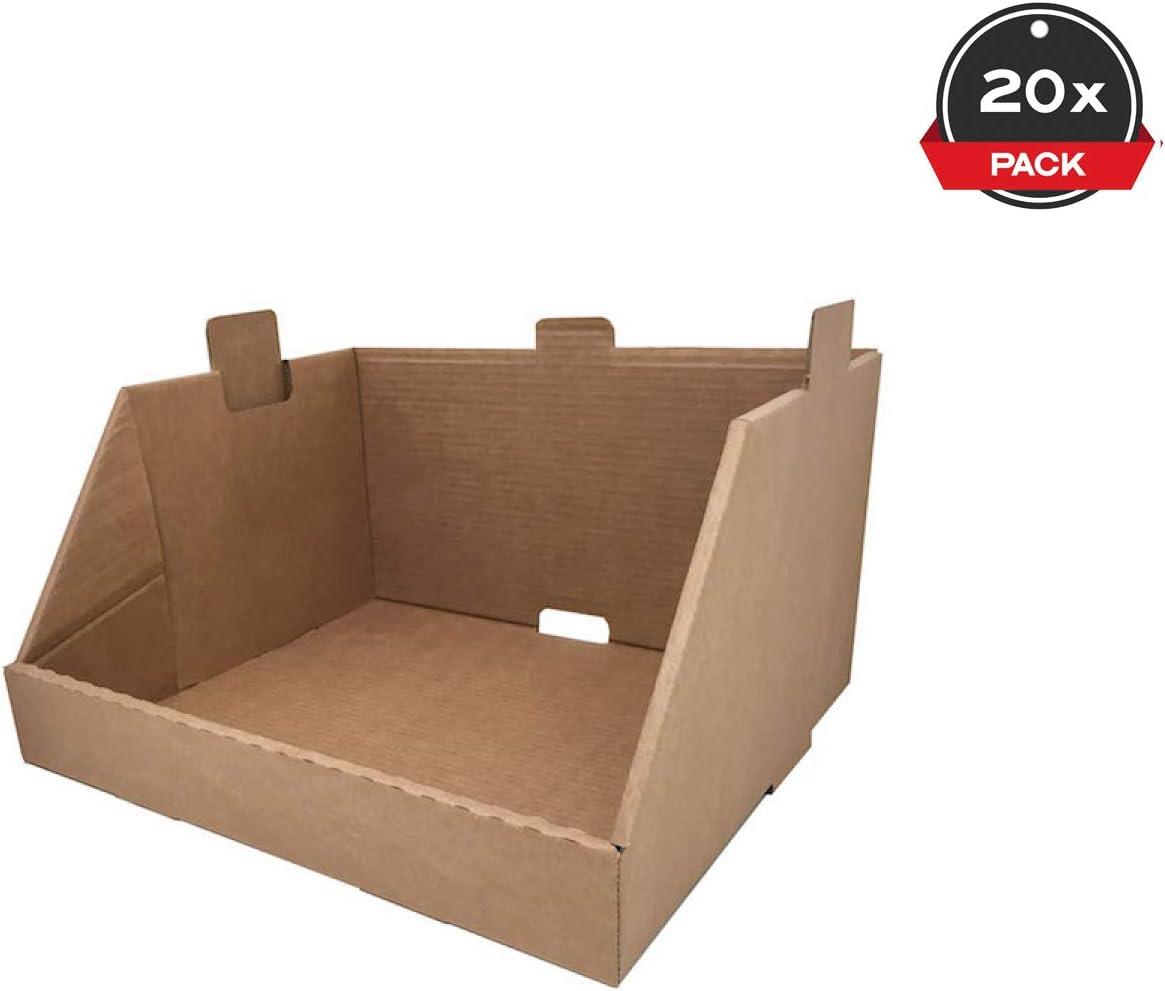 Cajeando   Pack de 20 Cajas de Cartón Expositor Apilable   Tamaño 43,7 x 38,5 x 24,5 cm   Canal Simple y Color Marrón   Almacenaje y Embalaje   Estantería Cocina o