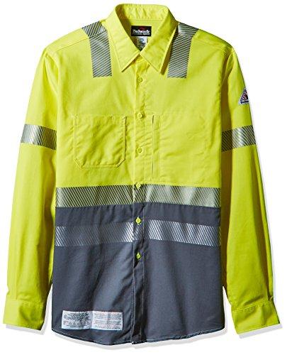 Bulwark Men's Hi-Vis Color Block Uniform Shirt-Excel Fr, Yellow/Green, 2X-Large