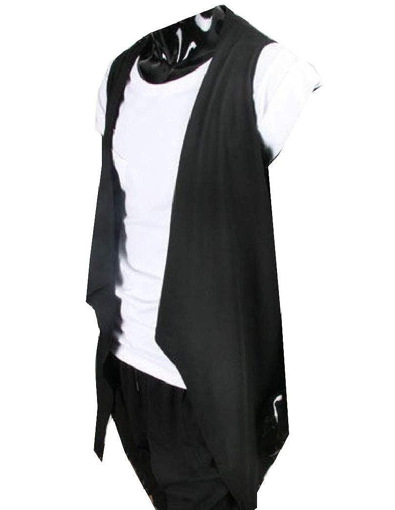 Fseason-Men Waterfall Collar Sleeveless Casual Solid Buttonless Cardigan