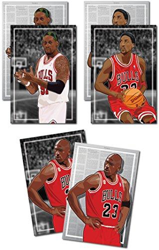 3 Posters of NBA Chicago Bulls - Michael Jordan, Scottie Pippen, Dennis Rodman Art Prints - Buy 1 Get 2 Free, 3 total prints (2-sided) (Medium Set - 12