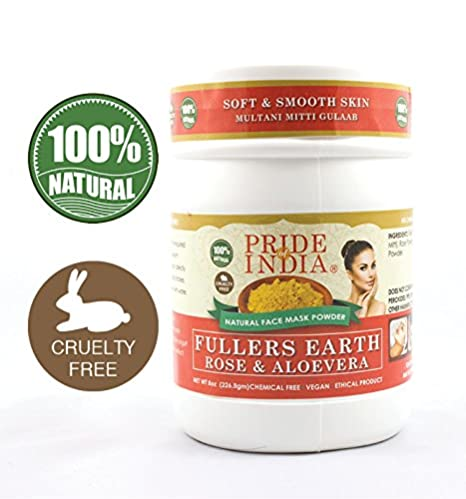 Pride Of India - Fuller's Earth Deep Cleansing Clay Powder, Half Pound, 100% Natural (Turmeric & Sandalwood)