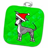 3dRose Janna Salak Designs Dogs - Cute Grey Italian Greyhound Green with Santa Hat - 8x8 Potholder (phl_12093_1)