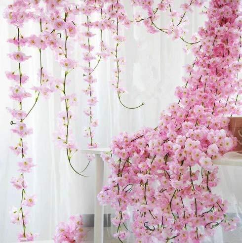 Taka Co フェイクローズつる2点 アップグレード ピンク 200cm 桜 桜 ラタン 結婚式 アーチ装飾 つるつる 造花 ホームパーティー 装飾 シルクのツヤ 壁掛け 花輪 B07GY2VPPR