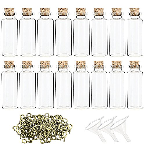 Superlele 48pcs 20ml Mini Glass Jars Bottles with Cork Stopper,48pcs Eye Screws & 3pcs Funnel