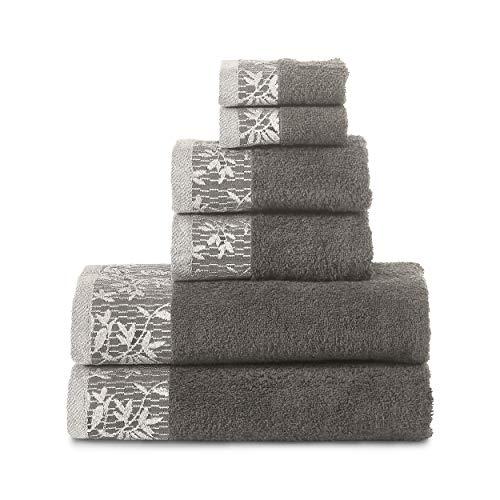 Superior Wisteria 100% Cotton Towel Set, 6 Piece, Grey