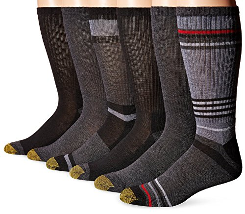 Gold Toe Men's Cotton Crew Athletic Sock 6-pack, Black Assorted,10-13 / Shoe: 6-12.5