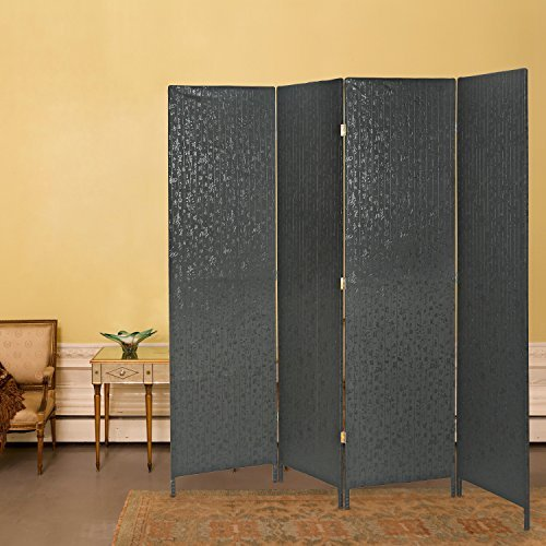 Decorative 4 Panel Room Divider, Freestanding Privacy Screen w/ Chinese Calligraphy, Black