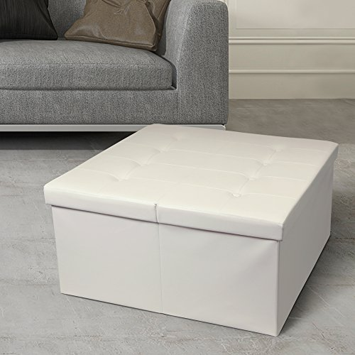 """Otto & Ben 30"""" Storage Coffee Table with Smart Lift Top Tufted Folding Faux Leather Trunk Ottomans Bench Foot Rest, Square, Ivory"""