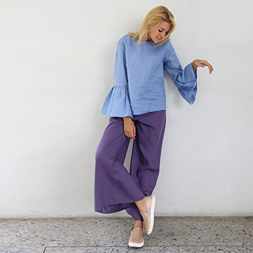 Linen purple long pants by LINEN.Forests