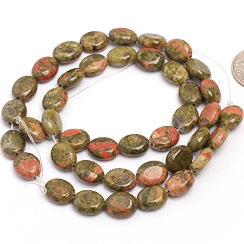 8x10mm Natural Semi Precious Oval Unakite Gemstone Beads for Jewelry Making Strand 15