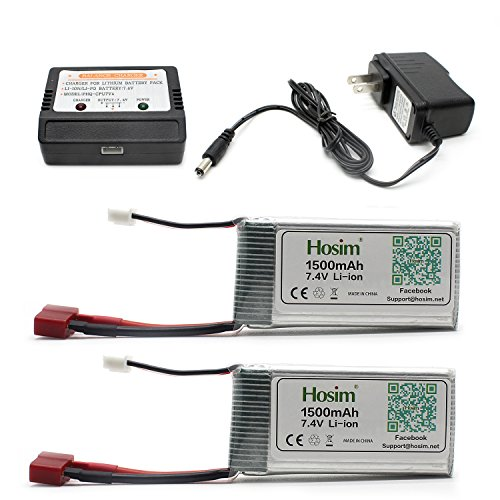 Hosim 2pcs 7.4V 1500mAh 15C T Connector Li-polymer Rechargeable Battery Pack and 1pcs Balance Charger, Safe & Fast Charging, Best for RC Evader BX Car RC Truck RC Truggy RC Airplane UAV Drone FPV