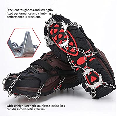 Sunzel Traction Cleats, Upgraded Version of 19 Teeth Stainless Steel Spikes Durable Silicone Mountain/Snow Grips Ice Creepers, Portable Walk Spikes Crampons