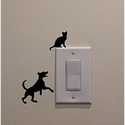 YINGKAI Dog Chasing Cat Up The Light Switch Decal Vinyl Wall Decal Sticker Art Living Room Carving Wall Decal Sticker for Kids Room Home Window Decoration: Home & Kitchen