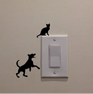 YINGKAI Dog Chasing Cat Up The Light Switch Decal Vinyl Wall Sticker Art Living Room