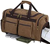 Weekender Overnight Duffel Bag Shoe Pocket for Women Men Weekend Travel Tote Carry On Bag (coffee-33)